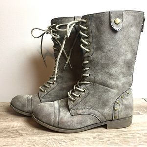 Madden Girl Gray Lace Up Combat Boots 7.5